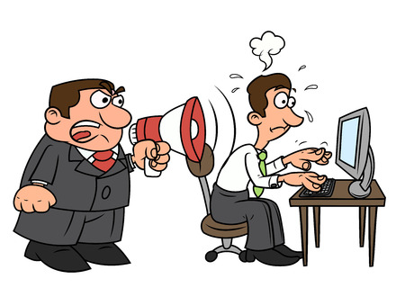 yelling: Illustration of the angry boss yelling into megaphone at worker. White background. Vector Illustration
