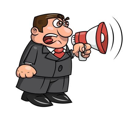 Illustration du patron en colère criant dans un mégaphone. Fond blanc. Vecteur