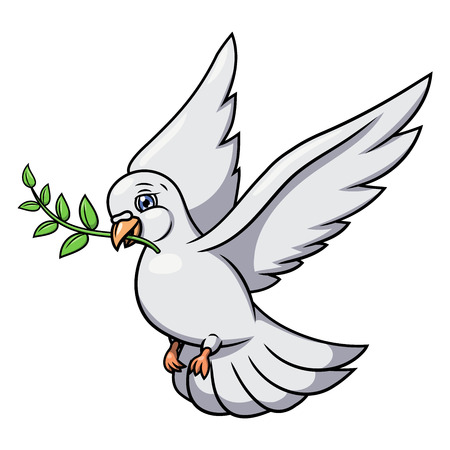 Illustration of the flying white dove with olive branch. White background. Vector Çizim