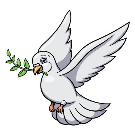 Illustrazione della colomba bianca volo con ramo d'ulivo. Sfondo bianco. Vettore Vettoriali