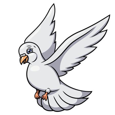 hopeful: Illustration of the flying white dove. White background. Vector