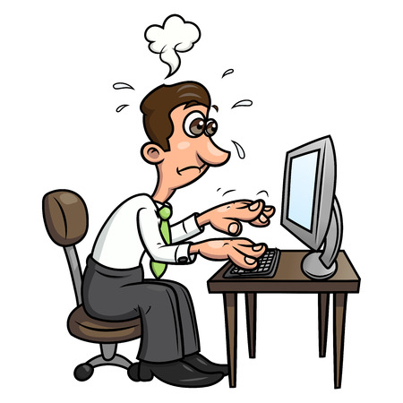 Illustratie van de vermoeide man aan het werk op de computer. Witte achtergrond. Vector Vector Illustratie