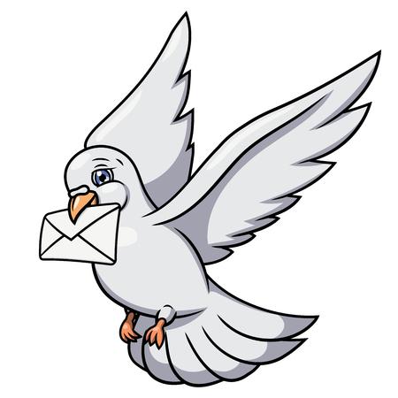 Illustration des fliegenden weiße Taube Buch Brief. Weißer Hintergrund. Vektor