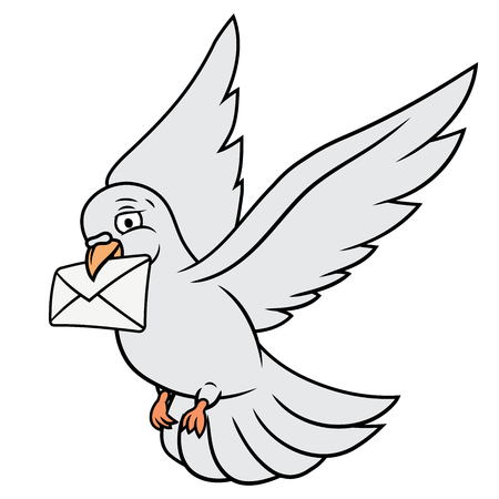 carrier pigeons: Illustration of the flying white pigeon carrying letter. White background. Vector