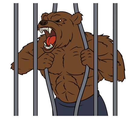 angry bear: Illustration of the angry bear is breaking the cage