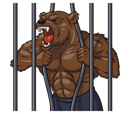 Illustration de l'ours en colère se brise la cage