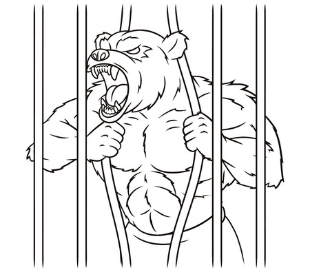Illustration of the angry bear is breaking the cage