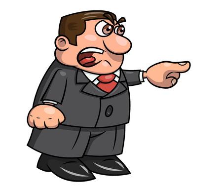 Illustration du patron en colère pointant le doigt et crier.
