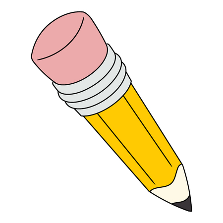tip style design: Illustration of the big yellow pencil with eraser. White background