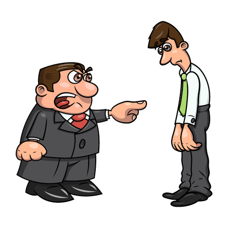 worried executive: Illustration of the angry boss pointing finger at employee and screaming.