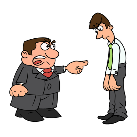 Illustration of the angry boss pointing finger at employee and screaming. 向量圖像