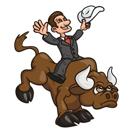 angry bull: Illustration of the confident businessman riding big angry bull symbolizing success and risk in business