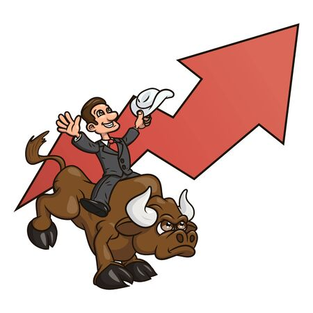 confident: Illustration of the confident businessman riding big angry bull symbolizing success and risk in business