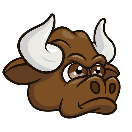 beast ranch: Illustration of the angry bull head. White background Illustration