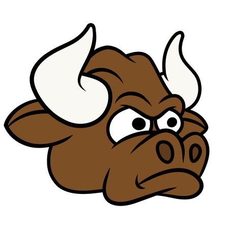 cow head: Illustration of the angry bull head. White background Illustration