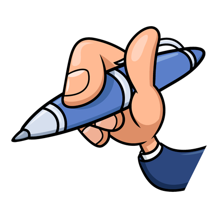 blue pen: Illustration of the cartoon hand holding blue pen. White background