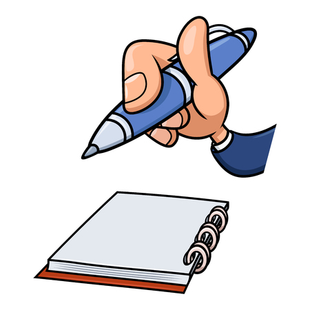 notepads: Illustration of the cartoon hand holding blue pen over notepad and ready to start writing. White background