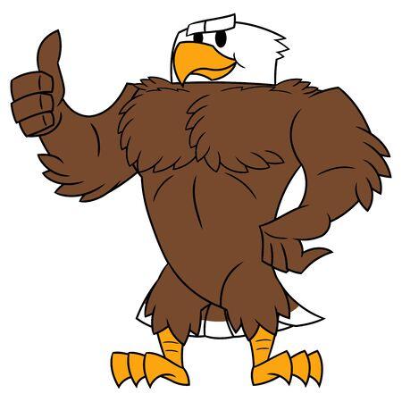 Ilustración de la fuerte águila parada y posando. Haciendo un pulgar arriba gesto. Fondo blanco Ilustración de vector