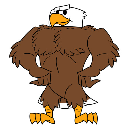 dignity: Illustration of the strong eagle standing and posing. White background
