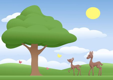mother and baby deer: Illustration of the mother deer and fawn on a sunny meadow with tree and butterflies.