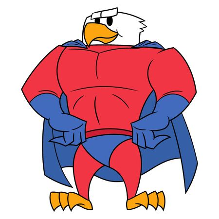 national hero: Illustration of the strong eagle in superhero costume standing and posing. White background