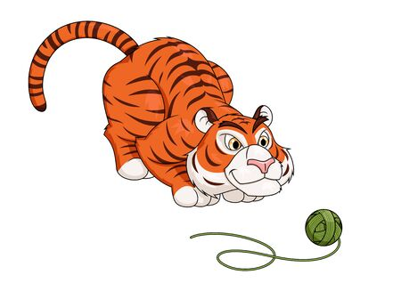 interested: Illustration of the tiger playing with ball of thread