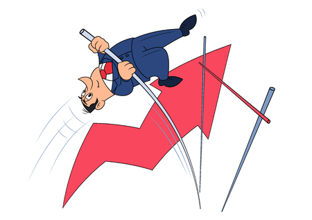 vaulting: Illustration of the businessman doing successful pole vault
