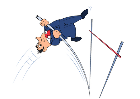 pole vault: Illustration of the businessman doing successful pole vault