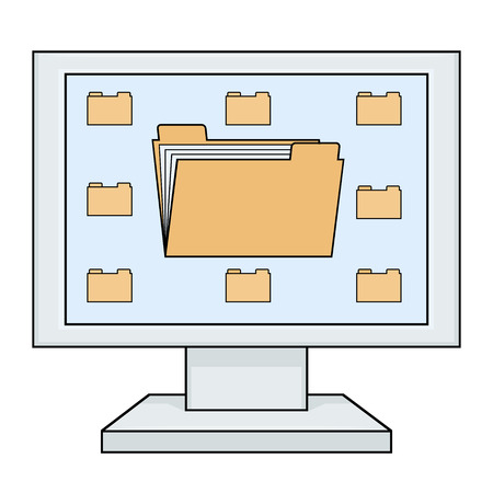 category: Illustration of the computer with yellow file folder icon