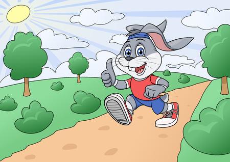 jogging in park: Illustration of the smiling rabbit jogging in park.