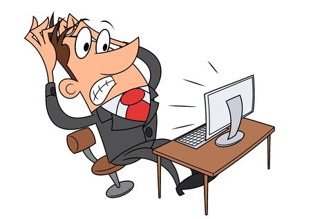 worried executive: Illustration of the businessman having stress while working at a computer. Illustration