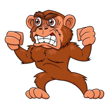 Illustration of the angry monkey on white background Ilustração