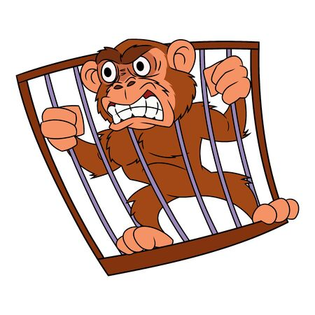 cage gorilla: Illustration of the angry monkey in cage on white background