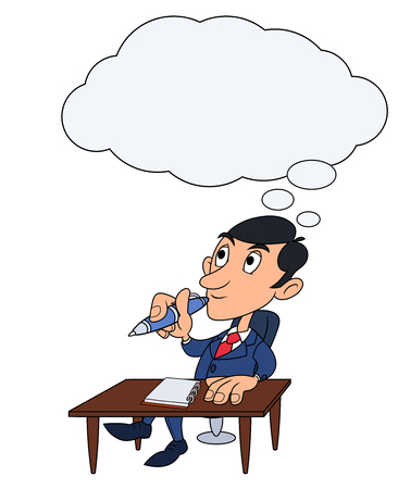 pensive: Illustration of the young businessman holding pen and thinking Illustration
