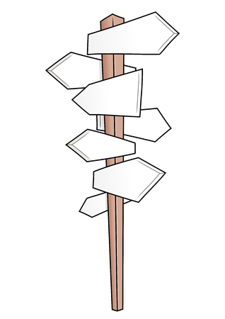 leading the way: Illustration of the guide sign with many direction options Illustration