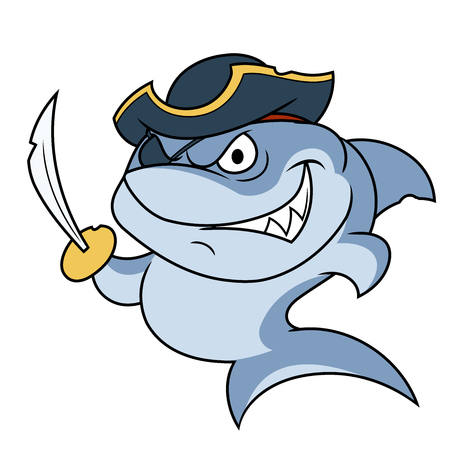 sabre: Illustration of the dangerous shark pirate with sabre