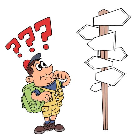 deciding: Illustration of the traveler looking at road sign with many direction options Illustration