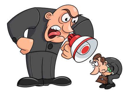shame: Illustration of the angry boss yelling at his worker Illustration