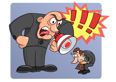 angry boss: Illustration of the angry boss yelling at his worker Illustration