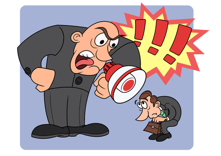 Illustration of the angry boss yelling at his worker Illustration