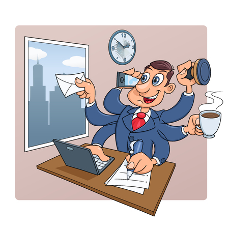 successfully: Illustration of the busy businessman in the office successfully doing several things at once