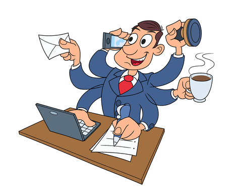 once: Illustration of the busy businessman successfully doing several things at once Illustration