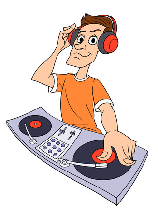 disk jockey: Illustration of the dj playing progressive electro music