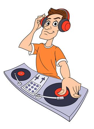 Illustration of the dj playing progressive electro music
