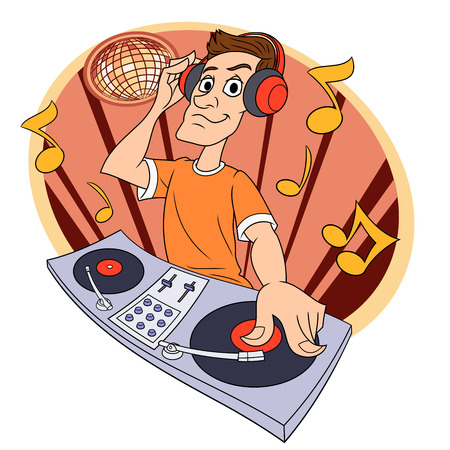 Illustration of the dj playing progressive electro music in a club