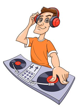 progressive: Illustration of the dj playing progressive electro music