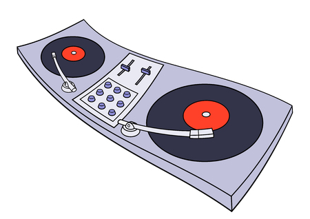 digital mixer: Illustration of the turntable on white background