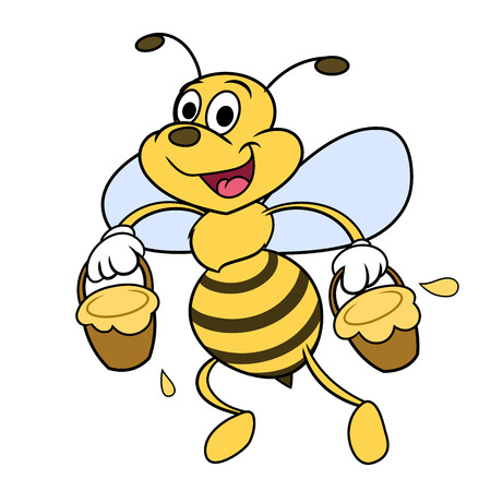 Illustration of the funny cheerful bee carrying honey Illustration