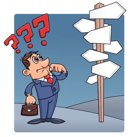ponder: Illustration of the businessman looking at road sign with many direction options