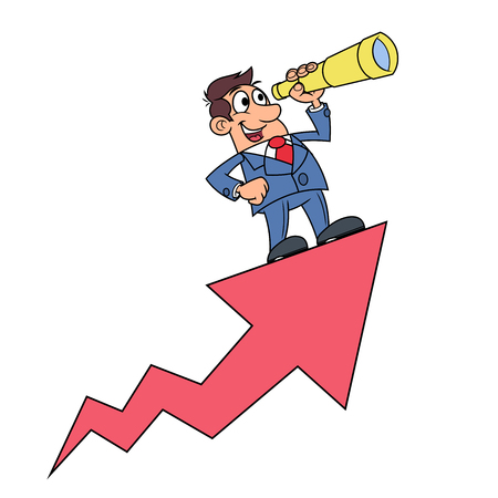 Illustration of the businessman looking through a telescope on growth arrow Illustration